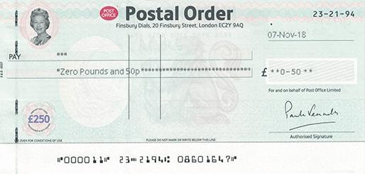 postal order tacho